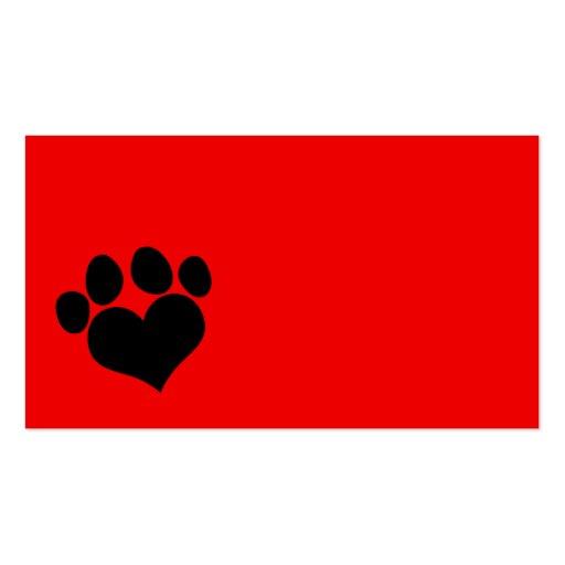 Impresión roja y negra de la pata del corazón plantillas de tarjeta de negocio