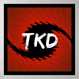 Impresión roja y negra del poster del huracán de T