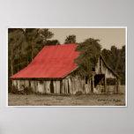 Impresión Rojo-Cubierta dilapidada del granero Posters