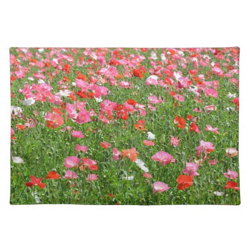 Impresión rosada bonita de los flores de la amapol manteles