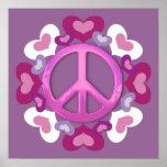 Impresión rosada bonita del signo de la paz y de l posters