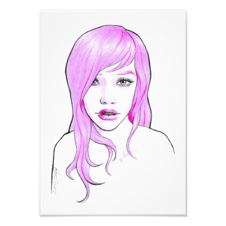 Impresión rosada de la foto del arte pop del fotografías