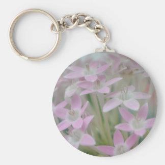Impresión rosada de la foto del racimo de flores llavero redondo tipo pin