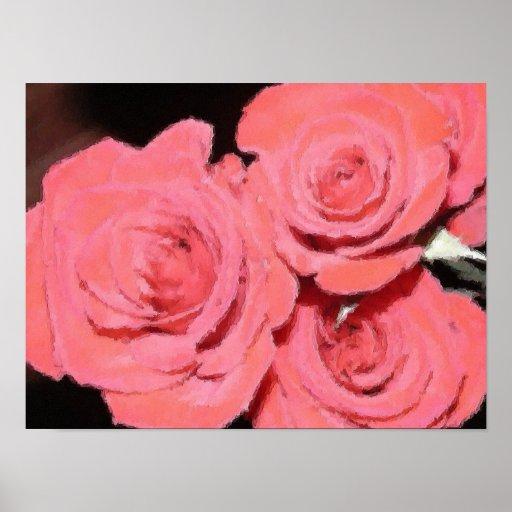 Impresión rosada de la lona de los rosas póster