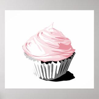 Impresión rosada de la magdalena poster