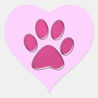 impresión rosada de la pata del gatito pegatina