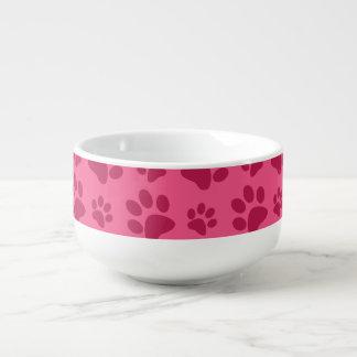 Impresión rosada de la pata del perro cuenco para sopa