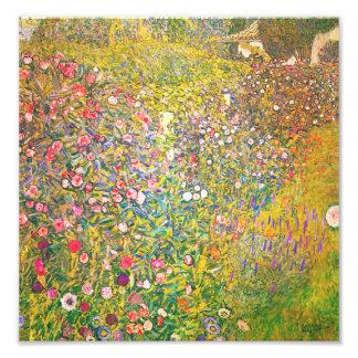Impresión rosada de las flores de Gustavo Klimt Fotografías