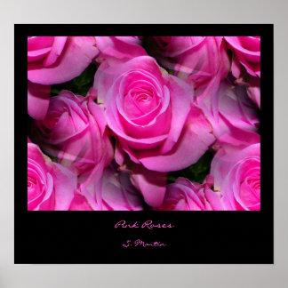 Impresión rosada de los rosas póster