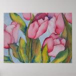 Impresión rosada de los tulipanes poster