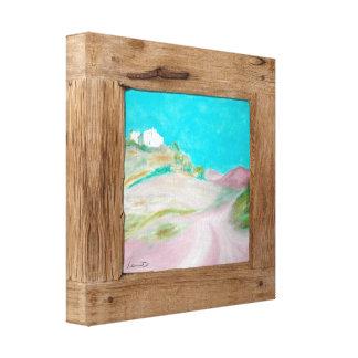 Impresión rosada de madera rústica de la lona del  lona estirada galerías