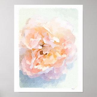 Impresión rosada del arte del poster del Peony de
