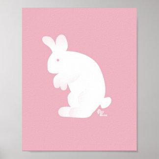 Impresión rosada del conejito póster
