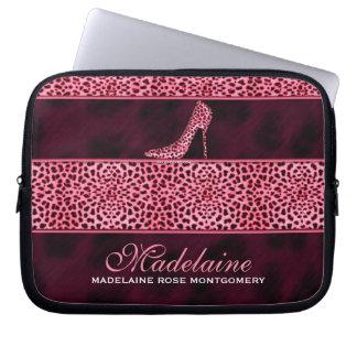 Impresión rosada del guepardo con el tacón de funda computadora