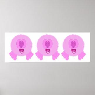 Impresión rosada del poster de los bebés de Pom Po