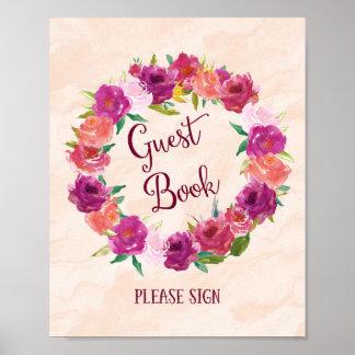Impresión rosada del poster del boda del libro de
