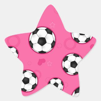 Impresión rosada linda de la estrella de fútbol pegatina en forma de estrella