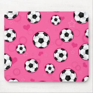 Impresión rosada linda de la estrella de fútbol tapetes de raton