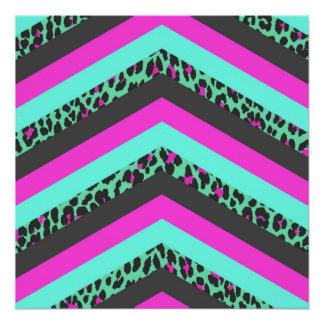 Impresión rosada negra del guepardo del trullo de perfect poster