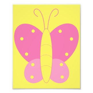 Impresión rosada y amarilla de la mariposa fotos