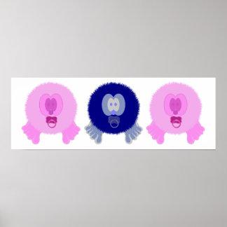 Impresión rosada y azul del poster de los bebés de
