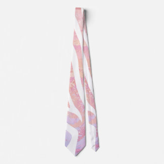 Impresión rosada y blanca de la cebra corbatas personalizadas