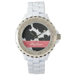 Impresión rosada y negra personalizada de la vaca relojes de pulsera