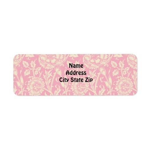 Impresión rosada y poner crema del vintage del cla etiqueta de remite