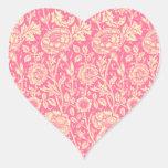 Impresión rosada y poner crema del vintage del pegatina corazón