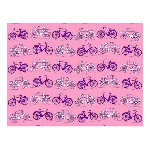 Impresión rosada y púrpura bonita de las bicis de tarjetas postales