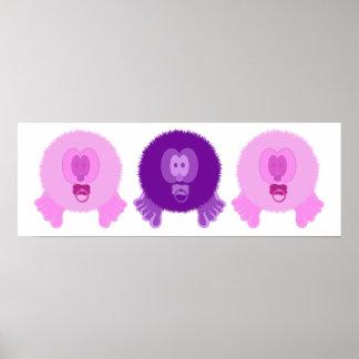 Impresión rosada y púrpura del poster de los bebés