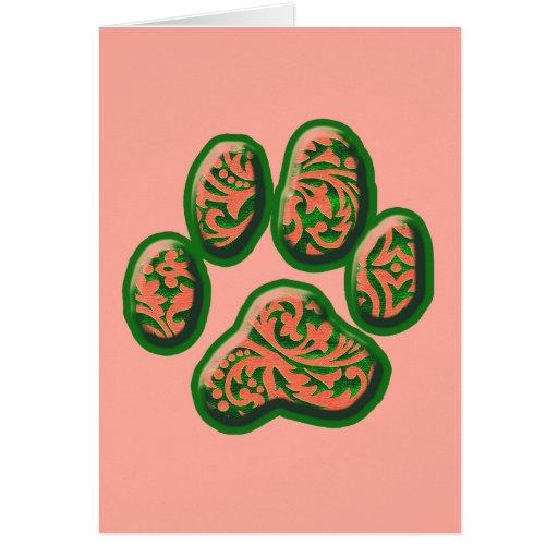 Impresión rosada y verde coralina del perrito de P Tarjetón