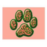 Impresión rosada y verde coralina del perrito de P Tarjetas Postales