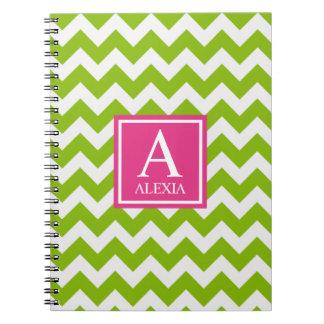 Impresión rosada y verde de Chevron del monograma Notebook