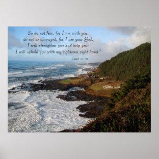 Impresión rugosa del 41:10 de Isaías de la costa d Posters