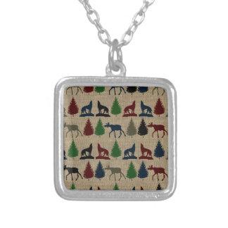 Impresión rústica de la arpillera del árbol de pin pendientes personalizados
