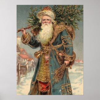 Impresión rústica de Papá Noel del Victorian del v Póster