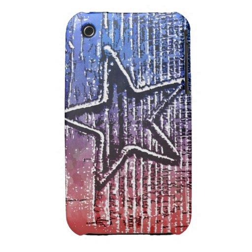 Impresión rústica fresca roja y azul del arte pop  iPhone 3 Case-Mate protector