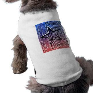 Impresión rústica fresca roja y azul del arte pop  playera sin mangas para perro