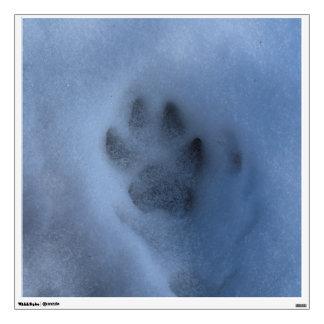Impresión salvaje de la pata del lobo gris en