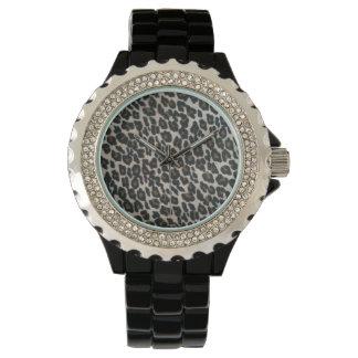 Impresión salvaje del leopardo reloj de mano