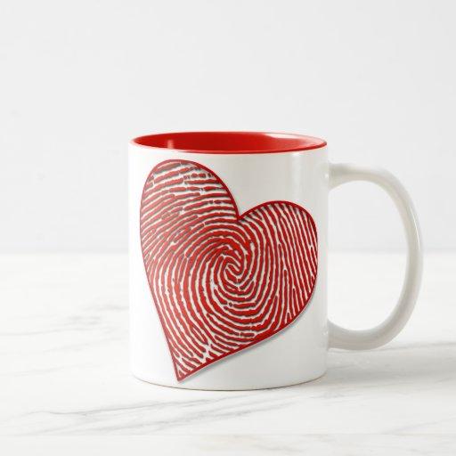 Impresión simple del corazón taza de dos tonos