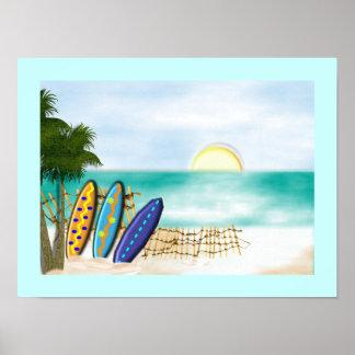 Impresión soleada del poster de la opinión del mar