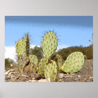 Impresión solitaria de la lona del cactus póster