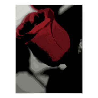 Impresión - solo rosa rojo poster