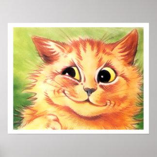 Impresión sonriente del poster del gato del jengib