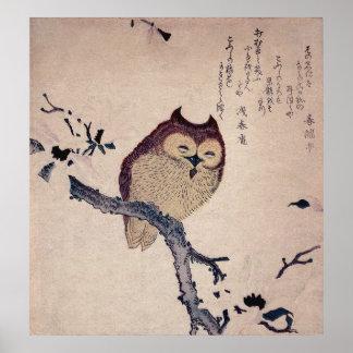 Impresión sonriente linda del japonés del búho posters