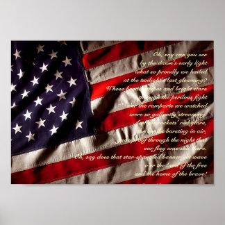 Impresión Spangled estrella de la bandera Poster