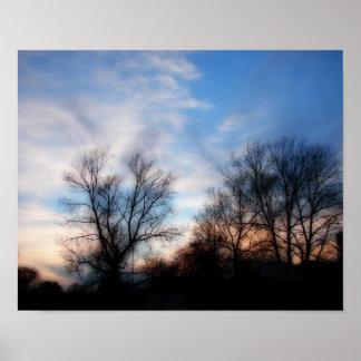 Impresión suave de la puesta del sol del foco póster