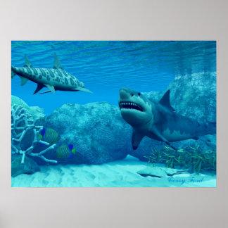 Impresión subacuática del mundo póster